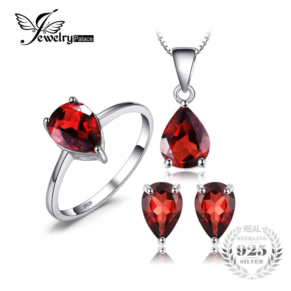 Jewelrypalace 5.4ct Natural Garnet Anel Brinco Colar Pingente conjunto de Jóias Genuine 925 Prata Esterlina Jóias Finas Para Mulheres