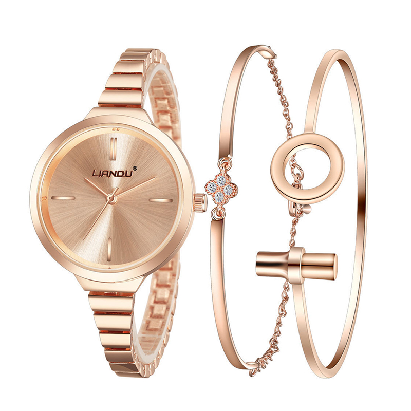 Luxury Crystal Gold Watch Bracelet Set Women Analog Clock Quartz Wrist Watch Bracelet Jewelry Set Ladies stylish zinc alloy quartz analog wrist watch bracelet for women golden multicolored 1 x 626