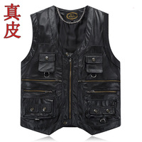 CO autumn of 2019 leather vest The first layer leather vest pocket more leather vest