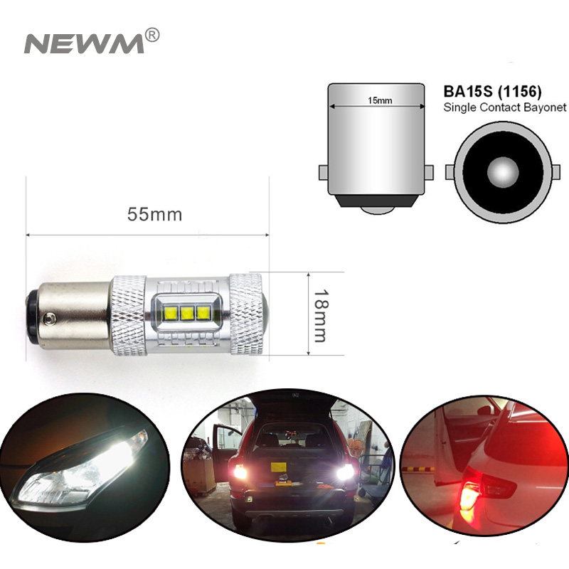 2x CREE Chip XBD 30w/50W/80w 1156 S25 P21W White/Amber/Red LED Light Backup BA15S Led Reverse Lamp 360 Degree Sourcing Light цены