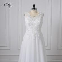 Cheap Plus Size Wedding Dresses V-neck Appliqued Beaded Chiffon Beach Bridal Gown For Women Vestidos de Novia