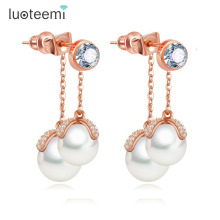 LUOTEEMI Rose Gold Elegant Stylish Zircon Micro Paved Double Imitation Pearl Tassel Dangle Earrings Female Perfect Jewelry