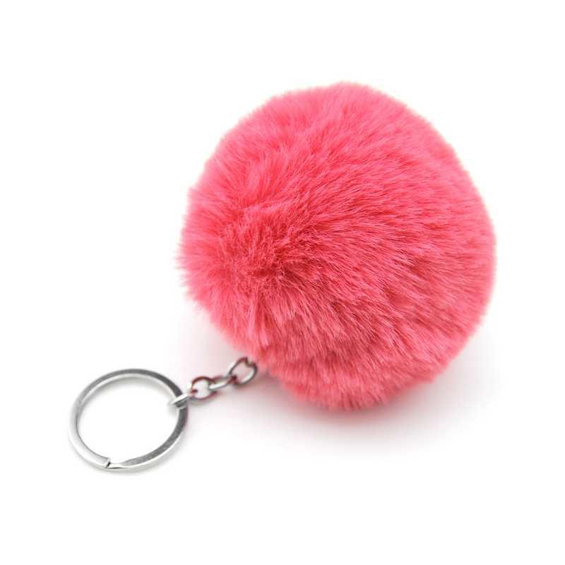 8 CM Fluffy Faux Rex coelho Pompom Pompom Mulheres Chaveiro Bugiganga brinquedo Lebre Pele Bola chaveiro Saco anel chave chaveiro Presente Da Jóia