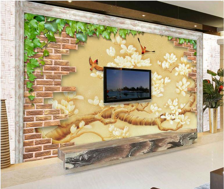 ᗕ3D photo wallpaper custom 3d wall mural wallpaper Brick wall mural ...