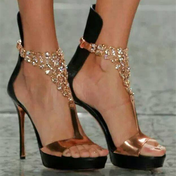 Ladies New Fashion Bling Bling Gold Silver Rhinestone One Strap Gladiator Sandals Ankle Wrap Crystal High Heel Sandals