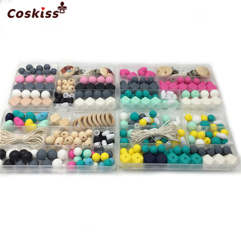 4 cajas de juguetes de mordedor para bebé chupete de cuentas de madera Clip geométrico hexagonal cuentas de silicona DIY mordedor para bebé