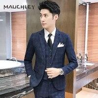 Mauchley китайский темно синий клетчатый мужской костюм жилет с брюками 3 шт. костюм тонкие приталенные свадебные костюмы для мужчин смокинг пл