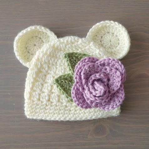 Crochet Baby Bear Beanie With Flower, Crochet Bear Hat, Baby Bear Beanie, Baby Girl Newborn Hat