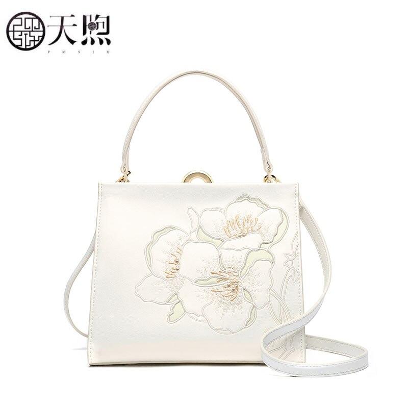 Pmsix nouveau femmes sac de luxe sacs à main designer en cuir sacs à main mode blanc broderie fourre-tout femmes en cuir sac à bandoulière