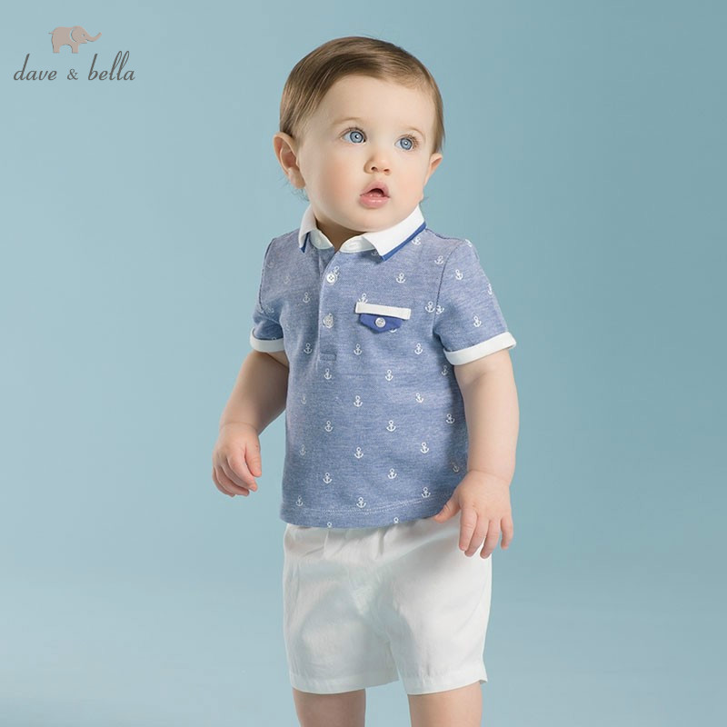 DB2148 dave bella summer printed short-sleeved baby clothing sets for boy printed sets infant set toddle clothes anchor print db4499 dave bella summer baby girls lovely clothing sets kids stylish clothing sets toddle cloth kids sets baby fancy clothes