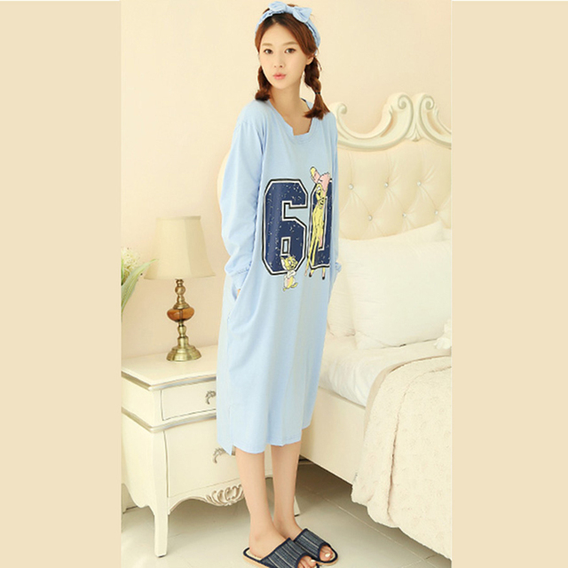 a032ef71d7f Nightgown Pyjama Femme Cartoon Pregnant Nightwear Enceinte Maternity  Clothes Pregnancy Pajamas Animal Summer Lady Cotton 70M018
