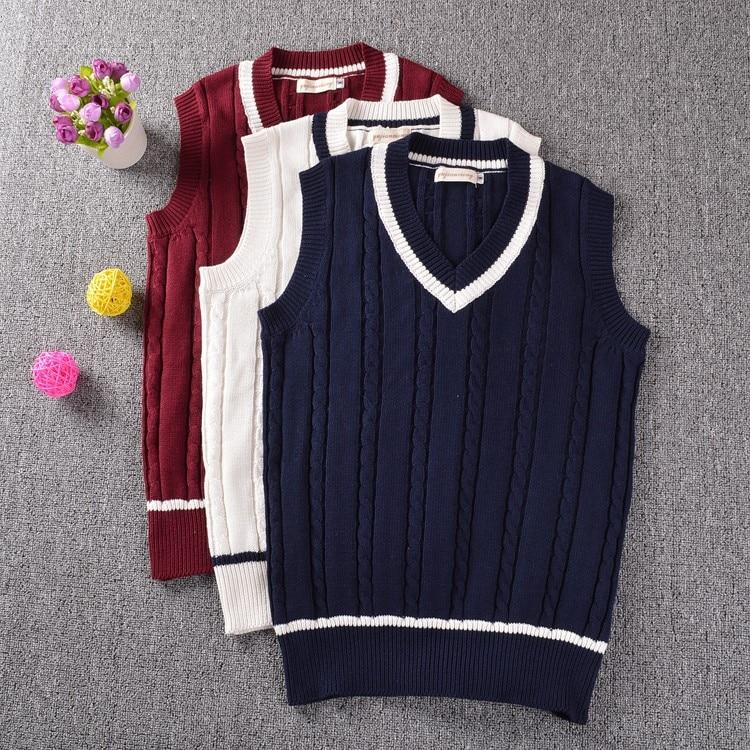 Classic multi woolen twisted striped V-neck sweater vest Dark Blue / Wine Red Ivory white