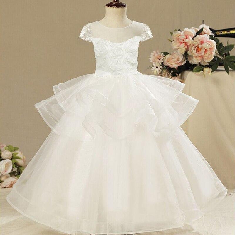 54d3ca9d72 Kwiat dziewczyna ślub sukienka na imprezę białe dzieci pierwsza komunia  święta suknia formalne dziewczyny suknie dziewczyna