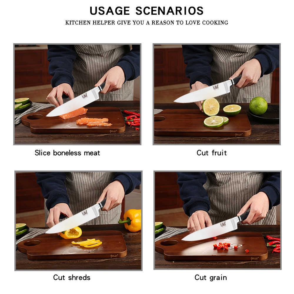 Conjunto de Facas de Cozinha de Aço Inoxidável Um Pedaço XYj Estrutura de Aço Facas de Cortar o Pão de Frutas Utility Chef Santoku Faca de Cozinha