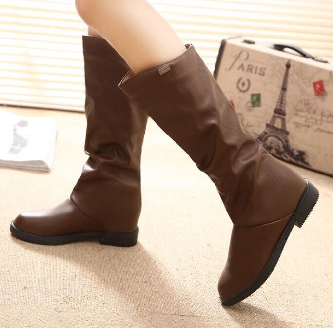 2016 New font b Women b font Boots Sexy Height Increasing Mid Calf Boots Autumn Riding