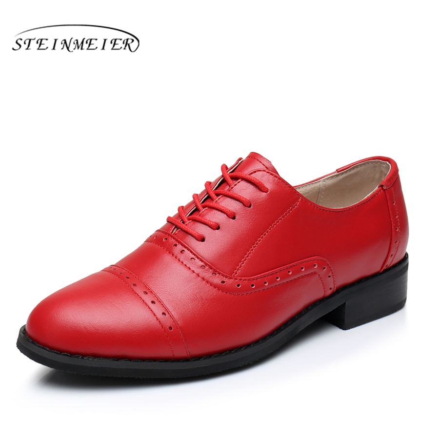Genuine leather big woman US 10 designer vintage flats shoes round toe handmade red 2017 sping oxford shoes for women fur woman genuine leather us 11 designer vintage flats oxford shoes round toe handmade lace up black white oxford shoes for women