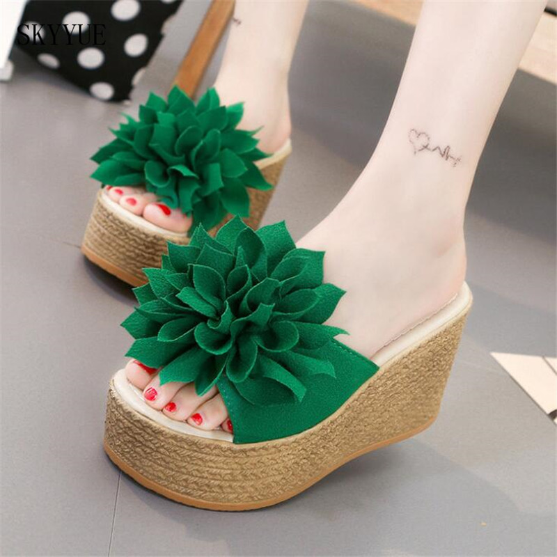 Women Wedges Sandals Summer Style Platform Shoes Woman Casual Thick High Heels Creepers Slippers Plus Size minika women sandals summer shoes breathable lace flats platform wedges lose weight creepers summer sandals cd41