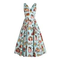 Blue Frida Kahlo Women Summer Dress 50s Pinup Vintage V Neck Casual Rockabilly Dress Party Vestido