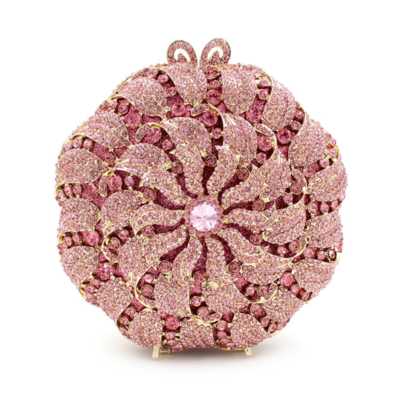 XIYUAN BRAND pink Women Flower Clutch Crystal Evening Party Bags Hard Case Wedding Clutches Purses Bridal Rhinestones Handbags golden crystal diamond rabbit women evening clutch bags bridal wedding dress handbags shoulder purses hard case metal clutches