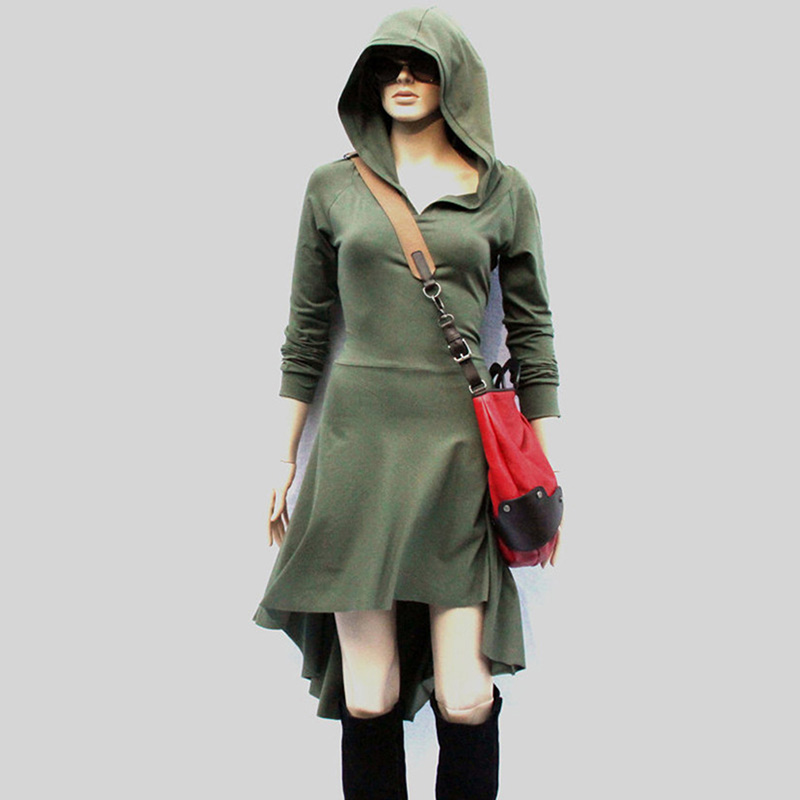 Women Medieval Dress Gothic Hooded Lace Up Renaissance Dress Long Sleeve Women Cosplay Dresses Casual Short Mini Medieval Dress