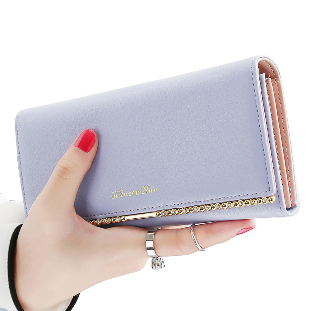 Fashion Ladies Wallet Simple Large Capacity Women Standard Wallets PU Leather Female Credit Card Holder Clutch Women's Purse QL