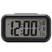Батарея цифровой будильник студент часы большой ЖК-дисплей Дисплей Повтор детские часы свет Сенсор Ночная офисные настольные часы