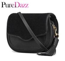 Designer Women Bag Genuine Leather Shoulder Bag Villus Saddle Bag Fashion Tassel Crossbody Bag Small Flap for Female