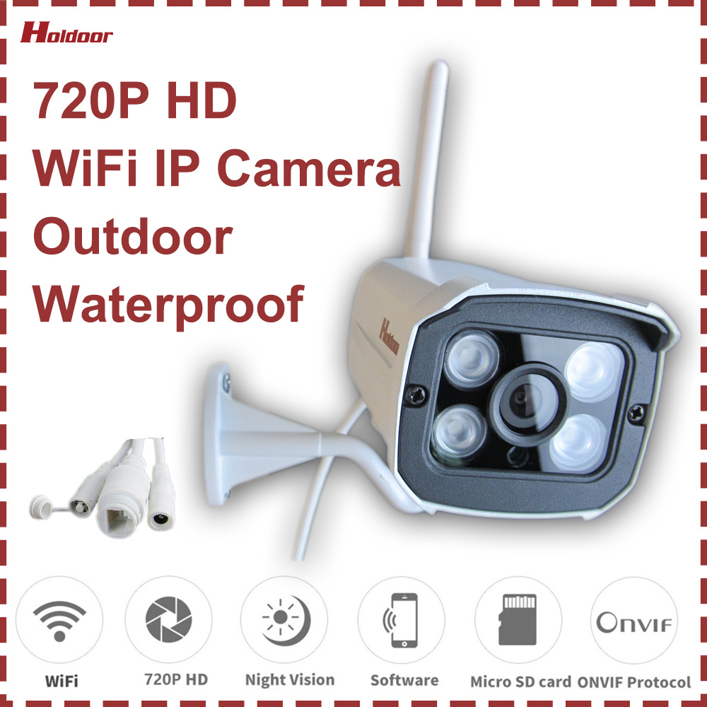 WiFi IP Camera 720P Outdoor Waterproof Home Security Video Surveillance IR Night Vision Motion Detection Email Alert Onvif P2P hd 720p onvif 2 0 security antenna ip camera wifi cmos night vision h264 ptz motion detection ir indoor security camera
