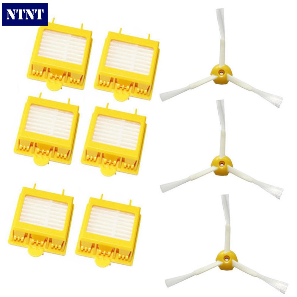 NTNT Free Shipping New 6 Filters + 3 Side Brush 3 Armed for iRobot Roomba 700 Series 760 770 780 ntnt free shipping side brush filters 6 armed mini kit for irobot roomba 500 series