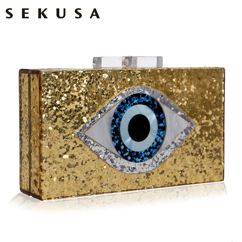 SEKUSA Eyes Print Acrylic Evening Clutch Box Bag For Women Wedding Party Fashion Handbags Chain Shoulder Bag Messenger Bags figure print chain bag