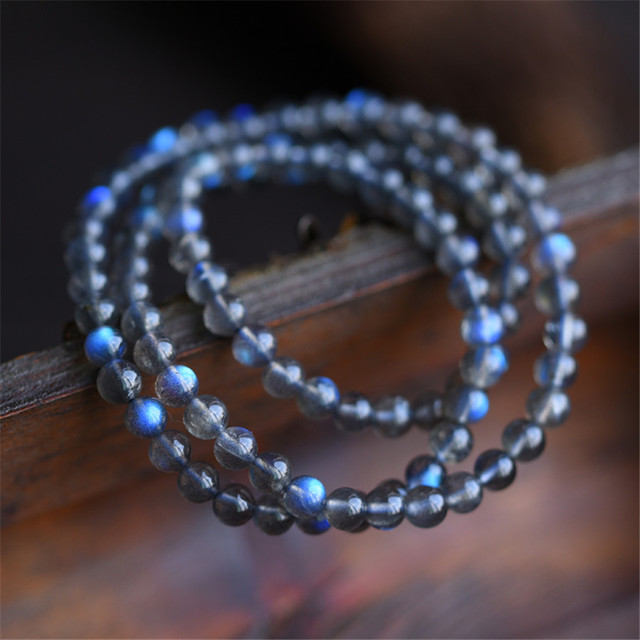 7mm Genuine Natural Labradorite Crystal Bracelets For Women Stone Blue Light Charm Stretch Clear Round Bead Bracelet
