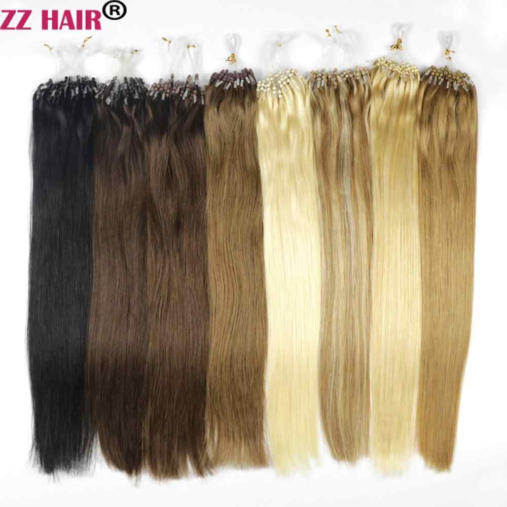 "ZZHAIR 0.4g-0.7g 16""-24"" Machine Made Remy Hair Micro Loop Ring 100% Human Hair Extension 100s/pack 40g-70g Micro Bead Links"