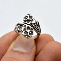 50pcs Women Antique Silver Rings Vintage Spoon Rings Adjustable Spoon Rings Jewelry