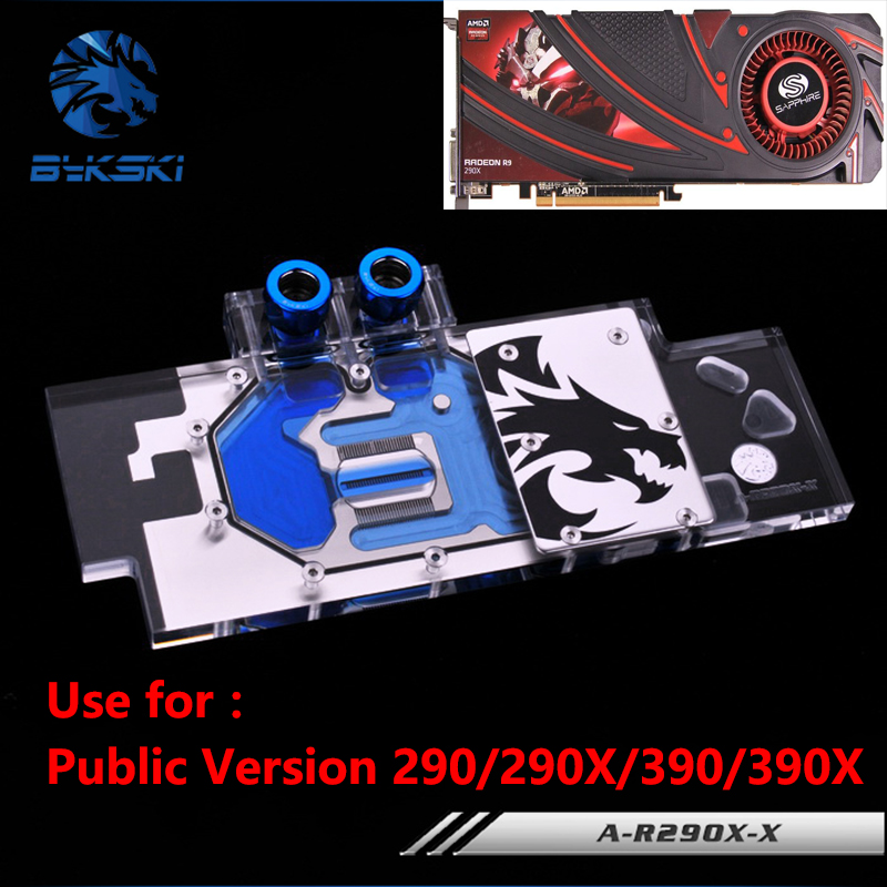 все цены на  Bykski Public Version Full Cover Graphics Card Water Cooling Block use for AMD R9 390X 290X R290 ATI Cooler Block with RGB Light  онлайн