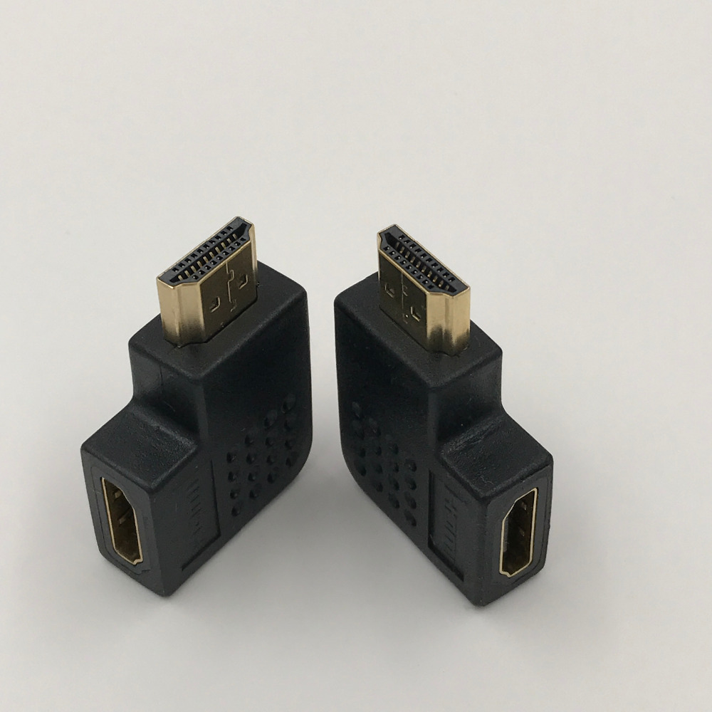 Flat HDMI Connector Male to Female 90 degree Converter Angle Adapter Left Right Angle Cable Extension Joiner 1Pcs