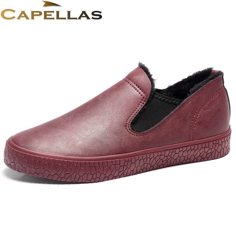 CAPELLAS New Arrival Men`s Leather Shoes Mens Winter Shoes Warm Fur&Plush Slip-On High Quality Fashion Men Shoes Size 39-44 new arrival 2017 men casual shoes mens fashion brand shoes breathable shoes for men slip on men s leather shoes zapatillas 39 44