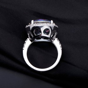 Image 4 - Gems Balle 13.0Ct Natural Blueish Mystic Quartz 925 sterling silver Cocktail Rings Fine Jewelry For Women Wedding Engagement