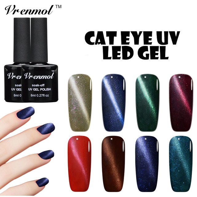 Vrenmol Glass Black Bottle Cat Eyes Gel Nail Polish Magnetic Gel ...