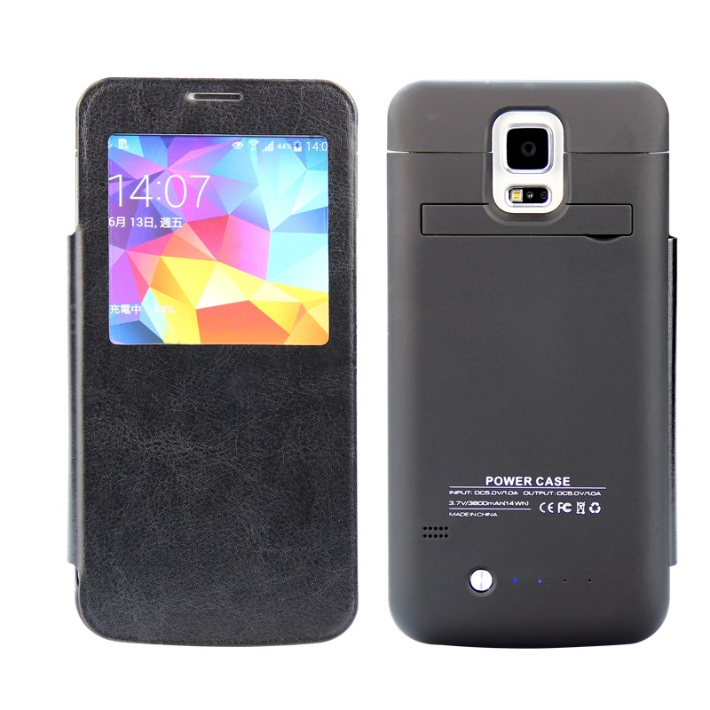 For Galaxy S5 G900 Battery Cases 3800mAh Battery Charger Case with Leather Window Cover for Samsung