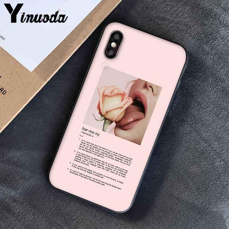 Yinuoda różowa estetyka piosenki teksty estetyczne miękkie silikonowe etui na telefon dla iPhone 8 7 6 6S 6Plus X XS MAX 5 5S SE XR 10