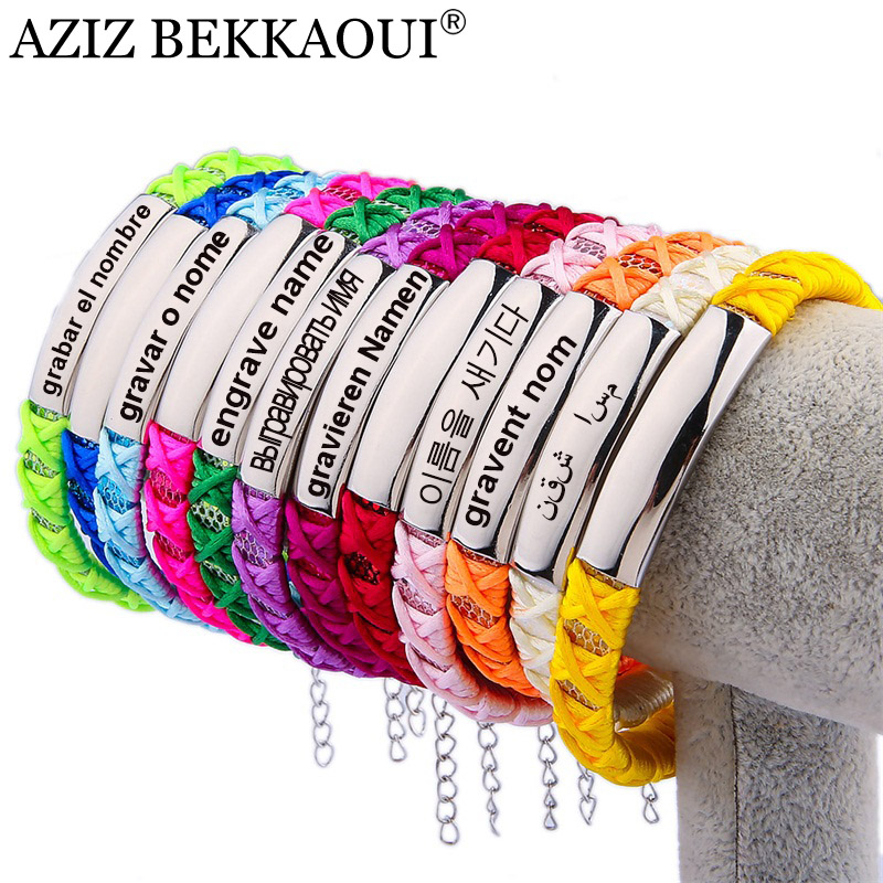 Multicolor Charm Bracelet For Women Adjust Size Personalized Engraved Name Diy Jewelry Handmade Braided Ribbon Bohemian In Bracelets From