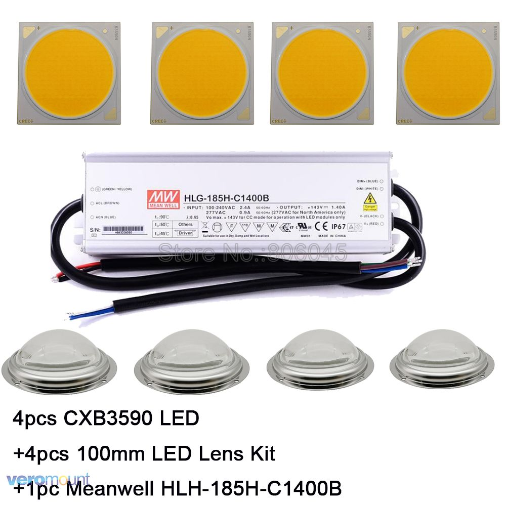 Cree CXB3590 LED Plant Grow Light 3000K 3500K 5000K 80 CRI 36V COB LED Array With Lens & Meanwell Driver DIY Module