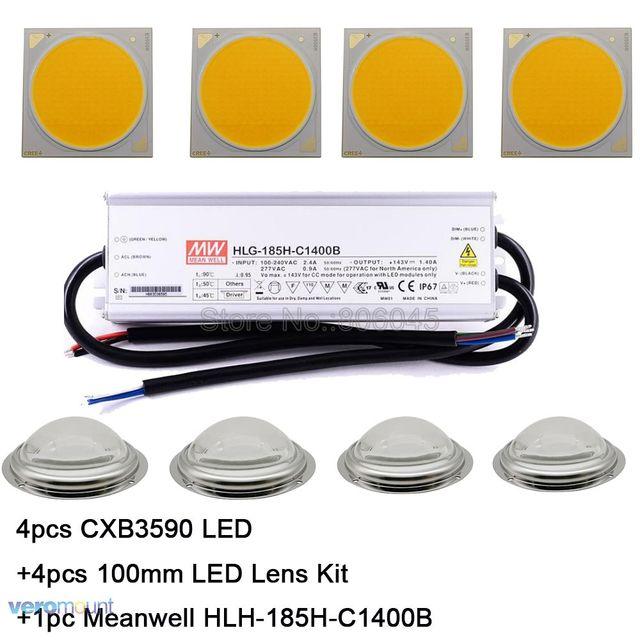 Cree CXB3590 LED Plant Grow Light 3000K 3500K 5000K 80 CRI 36V COB LED Array with Lens & Meanwell Driver DIY Module