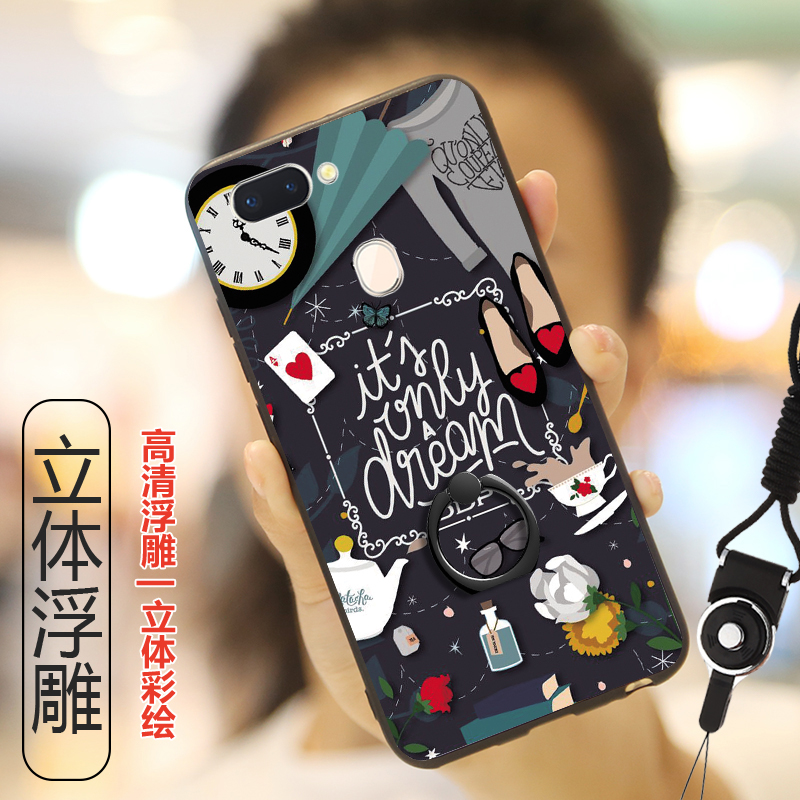 OPPO F9 Pro 6.3'' Case Funny Cute Cartoon Patterned Phone Cover for OPPO F9 F 9 Pro Capa Cases With Finger Ring Holder + Straps
