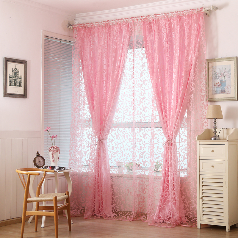 Embroidered Tulle Curtains French jacquard floral sheer voile American Big hook flocking curtains for bedroom living room Decor