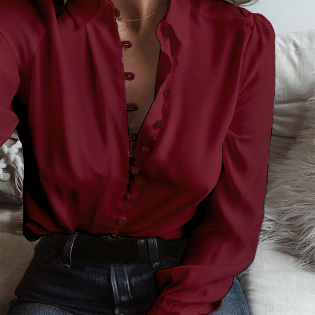 1900774c430 2018 Spring Plus Size ZANZEA Women Leisure Solid Lapel Buttons Long Sleeve  Blouse S 5XL Casual