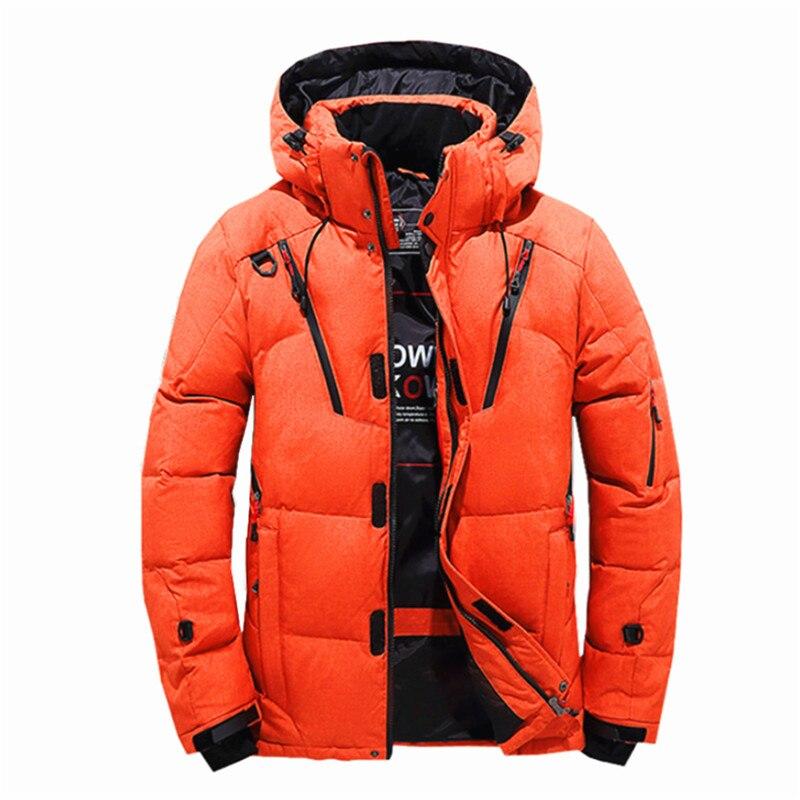 Veste de Ski pour hommes d'hiver améliorée plusieurs poches épaissir 80% vestes à capuche en duvet de canard blanc manteau de neige garde au chaud - 3