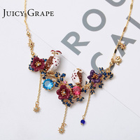 France Petty Enamel Glaze Owl Series Violet Nighthawk Lovers Flower Tassels Necklace Woman Gold Plated New