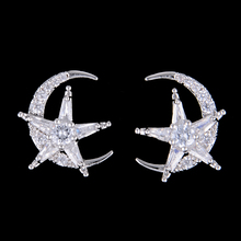 SisCathy Brand Moon Star Shape Fashion Stud Earrings for Women Girl Prom Party Jewelry Top Quality Cubic Zirconia Earrings недорого