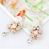 Beer bear Korean version of the earrings crystal cute female jewelry